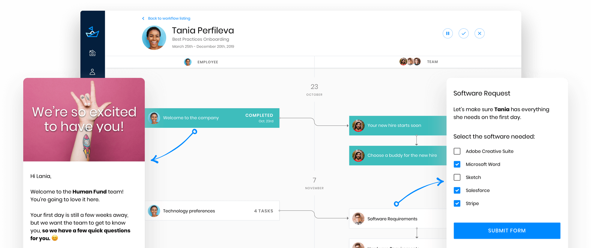 Onboarding workflow welcoming new employee.  Showing excitement to have new employee, tech request setup, and timeline of actions for the new hire.